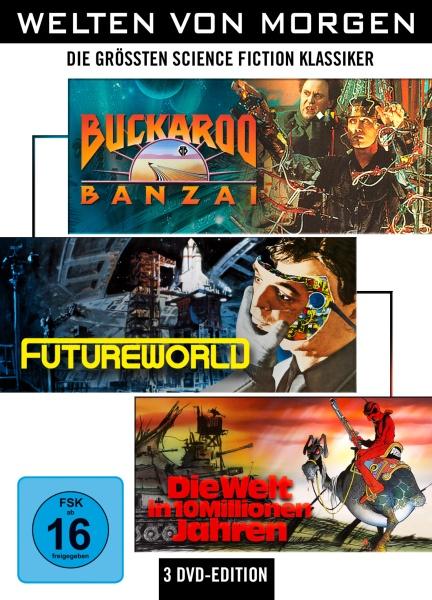 Welten von Morgen: Die größten Science-Fiction-Klassiker (Buckaroo Banzai, Die Welt in 10 Millionen Jahren, Futureworld) (3 DVDs)