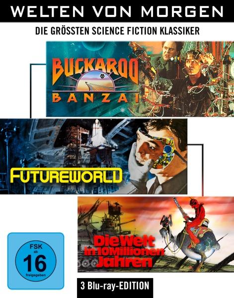 Welten von Morgen: Die größten Science-Fiction-Klassiker (Buckaroo Banzai, Die Welt in 10 Millionen Jahren, Futureworld) (3 Blu-rays)