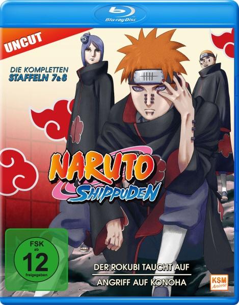 Naruto Shippuden - Der Rokubi taucht auf / Angriff auf Konoha - Staffel 07+08: Folge 364-395 (Blu-ray)